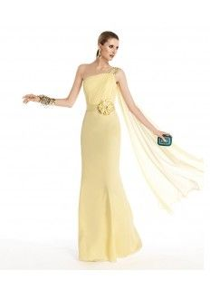 One Shouder Beaded Strap With Droped Wrap Sheath Chiffon Prom Dresses With Belt And Flower/Prom dresses 2014----KissDresses Online Store