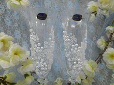 """Бокалы-Bohemia-из серии """"Ангел"""".Декор: бисер, жемчужные половинки, роспись акрилом- цвет белый. Авторский рисунок."""