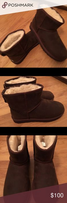 BNWT UGG brown leather short boots Gorgeous UGG boots chocolate brown brand new in box/bag Size 12 UGG Shoes Ankle Boots & Booties
