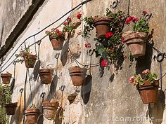 Typical wall planter pots Tuscany Italy style