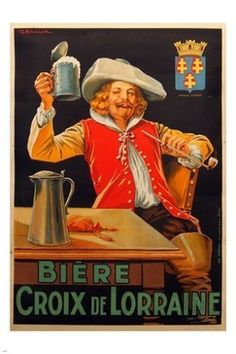 BIERE CROIX DE LORRAINE french beer ad poster TRADITIONAL historic 24X36 NEW