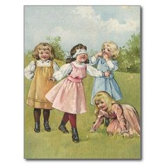 vintage playing cards | Vintage Victorian Children Playing Blindfold Games Post Cards | Zazzle ...