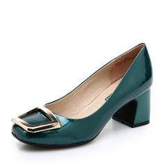 【卡美多Cameido KW16ZATG33-21502 墨绿色】卡美多(cameido)墨绿色饰扣中跟浅口鞋KW16ZATG33-21502