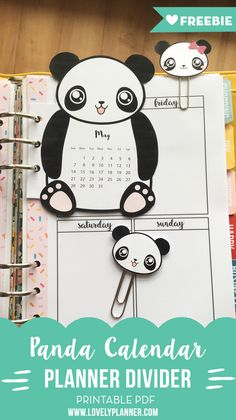 Free Calendar Planner divider with matching paperclips - PDF Printable - Get a new one every month!