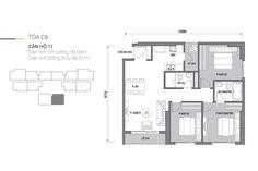 Mặt bằng căn 11, tòa C6 D'.Capitale Trần Duy Hưng, 3 phòng ngủ