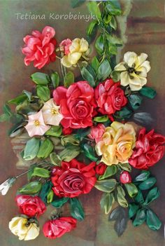 picture The roses on the wall Silk ribbon by SilkRibbonembroidery