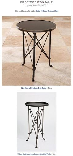 DIRECTOIRE IRON TABLE vs URBAN OUTFITTER'S METAL ACCORDION SIDE TABLE