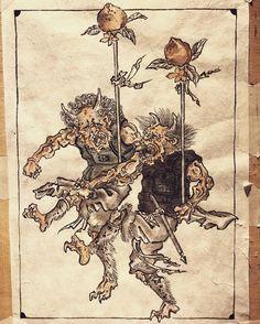 Japanese Oni, Japanese Monster, Traditional Japanese Tattoos, Japanese Tattoo Art, Japanese Painting, Japanese Mythical Creatures, Japanese Animals, Oriental Tattoo, Japanese Illustration