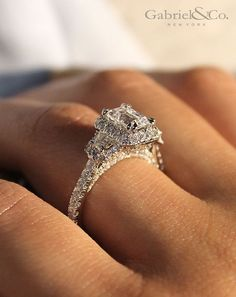 Gabriel NY - Voted #1 Most Preferred Fine Jewelry and Bridal Brand. 18k White Gold Emerald Cut 3 Stones Halo  Engagement Ring