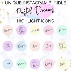 Blogger Instagram Highlight Icons | Pastel Instagram Highlight | Pastel Instagram Covers | Instagram Highlight Cover Icons | Social Media