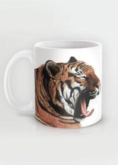 """Yawning"" Mug by Savousepate on Society6 #mug #tiger #drawing"