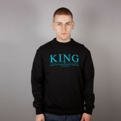 A black sweat is perfect for days at home or those casual days The Selection, Crew Neck, Graphic Sweatshirt, King, Sweatshirts, Long Sleeve, Casual, Sweaters, Mens Tops