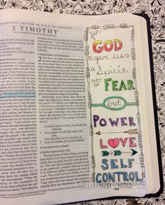The first verse I doodled in my journaling bible. 2 Timothy 1:7 #journalingbible #illustratedfaith