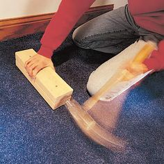 DIY Carpet Kicker ~  If you have any loose carpet that needs to be stretched back into place, don't go out and buy or rent a carpet kicker. Create your own from a carpet tack strip and a couple of 2x4 scraps. Tack two 1-ft. long 2x4s together and nail a few carpet tack strip pieces to the bottom. Hold the kicker down and pound with a hand maul to stretch the carpet back into place. - Joe Waldron