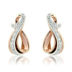 9 Carat Rose and White Gold Earrings with Diamonds.