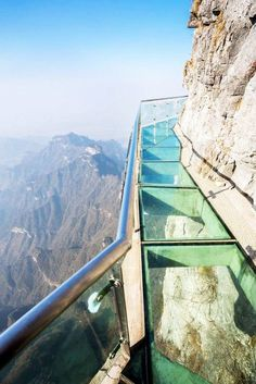 This is Glass Skywalking Around Tianmen Mountain, China #darleytravel...  OMG - not a place for me!
