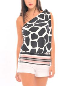 Take a look at this Black & White Crystall Asymmetrical Top by Analili on #zulily today!