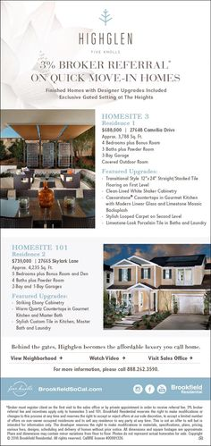 New Homes for Sale in Santa Clarita, California  3% Broker Referral on Quick Move-In Homes at Highglen  Bring your clients to see these designer upgrades in this exclusive gated setting!  http://brookfieldsocal.com/neighborhood/highglen-at-five-knolls/