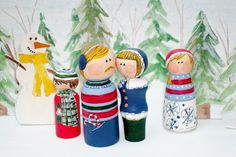 """Peg People Family- Family Gift Idea """"Meet the Family Ready for Winter"""" Ready to Ship"""
