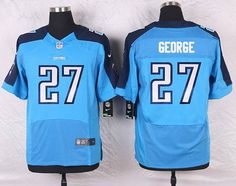 Tennessee Titans #27 Eddie George Light Blue Retired Player NFL Nike Elite Men's…