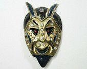 Vintage Art Deco Devil Brooch - Pin - Blue - Black - Enamel - Rhinestones - Gold Tone - Halloween - Goth - 1920s to 1930s