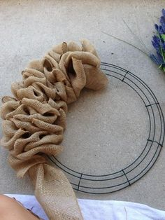 Little Lovely Leaders: Burlap Wreath instructionsLittle Lovely Leaders: Burlap Wreath! Nice step by step directions. I have some while ribbon and purple ornaments I have been wanting to use in a wreath!Little Lovely Leaders: Burlap Wreath! Cute Crafts, Fall Crafts, Holiday Crafts, Crafts To Make, Arts And Crafts, Diy Crafts, Holiday Wreaths, Christmas Wreaths For Front Door, Front Door Wreaths