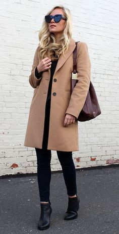#winter #fashion /  Camel Coat + Burgundy Leather Bag