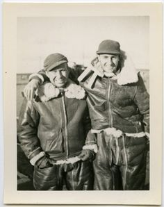 1940s Military Aviators in Full Leather Flight Suits - snapshot 913