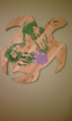 Gotcha Day Project:  Mommy & Daddy's handprints make an incomplete heart.  Baby's hand completes it.