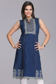 Beautiful Blue Sleeveless Cotton Kurta With Blue & Green Ajrakh Neckline