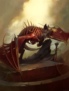 Terrorgheist by Igor Sid For Age of Sigmar Battletome: Flesh-Eater Courts. Warhammer 40k Art, Warhammer Fantasy, High Fantasy, Dark Fantasy Art, Vampires, Warhammer Vampire Counts, Aliens, Age Of Sigmar, Horror