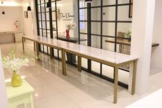 WMRN Table 대리석 : 비앙코까라라 프레임 : 골드색상 사이즈 : 주문제작 Dining Bench, Custom Made, Marble, House, Furniture, Home Decor, Decoration Home, Table Bench, Home