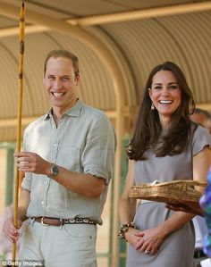 The Duke and Duchess smiled and laughed as William held the two metre long traditional Aboriginal spear made from mulga wood and kangaroo ve...