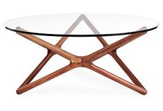 Star Glass Coffee Table, Walnut - Coffee Tables - Living Room - Furniture One Kings Lane