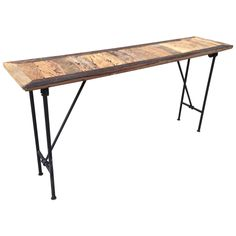 Walnut Organic Console Table with Iron Base | From a unique collection of antique and modern console tables at https://www.1stdibs.com/furniture/tables/console-tables/