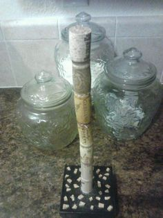 Wine cork paper towel holder DIY all you need is an old box some wine corks and hot glue gun