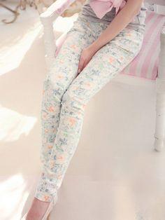 Pastel floral jean legging