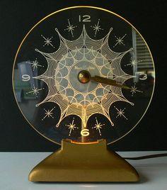 Mid-century MASTERCRAFTERS model 416 ETERNALIGHT T.V. CLOCK lamp NICE works NR ebay..