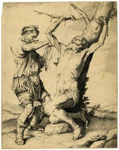 St Bartholomew tied to a tree, flayed by an executioner with a knife in his mouth to right; landscape beyond; reversed anonymous copy, after Ribera; proof before letters with alterations in the background and in bottom right corner. 17thC Etching and engraving