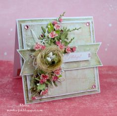 Skip the bird's nest but the card is super cute! Handmade Decorations, Flower Decorations, Flower Cards, Paper Flowers, Scrapbook Cards, Scrapbooking, Beautiful Birthday Cards, Shabby Chic Cards, Beautiful Handmade Cards
