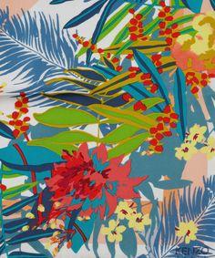 Peach Diamond Jungle Print Silk Scarf, Kenzo