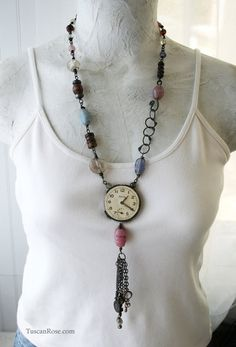 One Twenty - repurposed watch Necklace - steampunk industrial jewelry. $75.00, via Etsy.