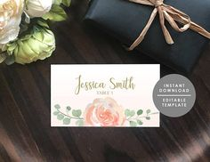 Place Card Template wedding name card Peach watercolor