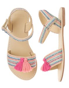 Girls Pink Stripe Tassel Sandals by Gymboree Toddler Sandals, Kids Sandals, Toddler Shoes, Kid Shoes, Girls Shoes, Baby Sandals, Fashion Boots, Sneakers Fashion, Fashion Wear