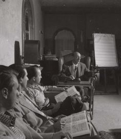 Arnold Schoenberg with students, Los Angeles, 1947.