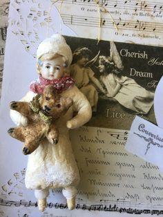 Wattefigur mit Porzellankopf,Winterkind, JDL,Shabby, cotton batting ornaments,   eBay