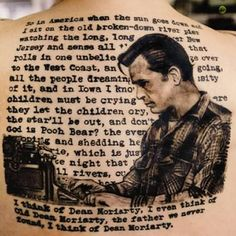 """Jack Kerouac at his typewriter surrounded by the closing lines of """"On the Road"""""""