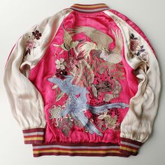 Fine High Class Chic Pink Japanese Japonican Japonesque Birds Butterflies Flowers Garden Wagara Souvenir Embroidered Sukajan Bombert Art Jacket