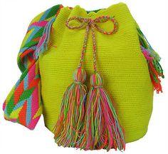 Neon Yellow Authentic Large Wayuu Mochila Bag  MW-8726 by ACROSS THE PUDDLE
