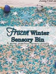 Frozen winter sensory bin- preschool sensory activities